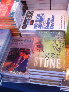 Tiger Stone stocked next to Patricia Grace and Robyn Davidson at UWRF bookshop