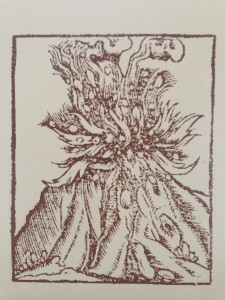 Woodcut of Mt Hekla eruption by Sebastian Munster